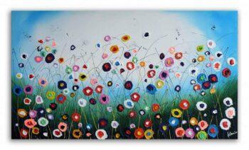 Kleurrijk bloemen schilderij Flower Party