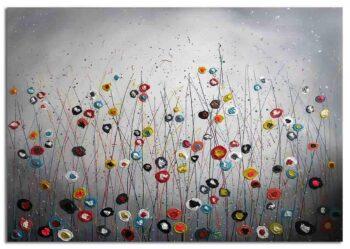 Bloemen schilderij in abstracte vorm