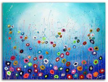 Kleurrijk bloemen schilderij Flowers
