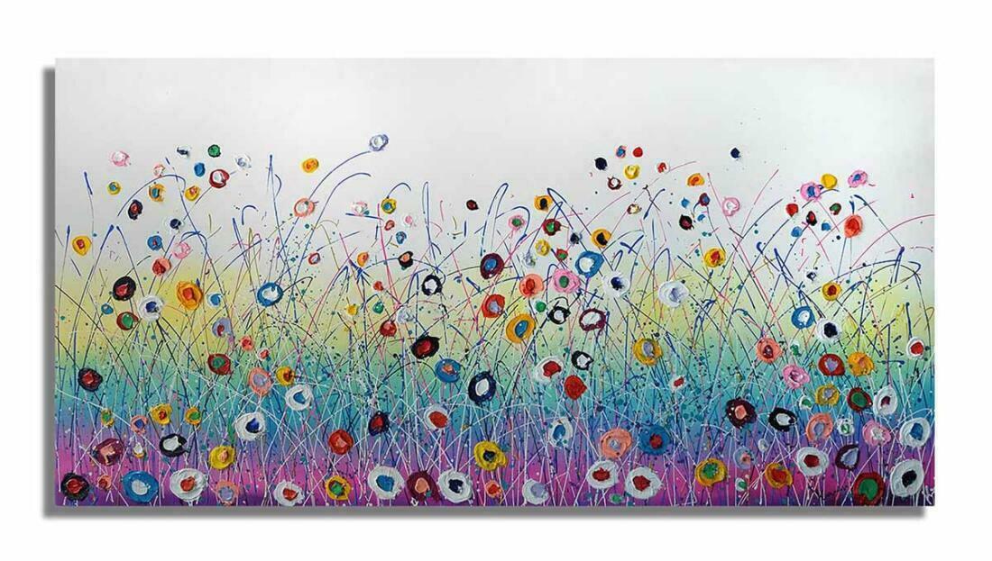 Vrolijk bloemen schilderij