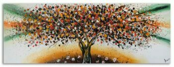 Boom schilderij Bruin Oranje