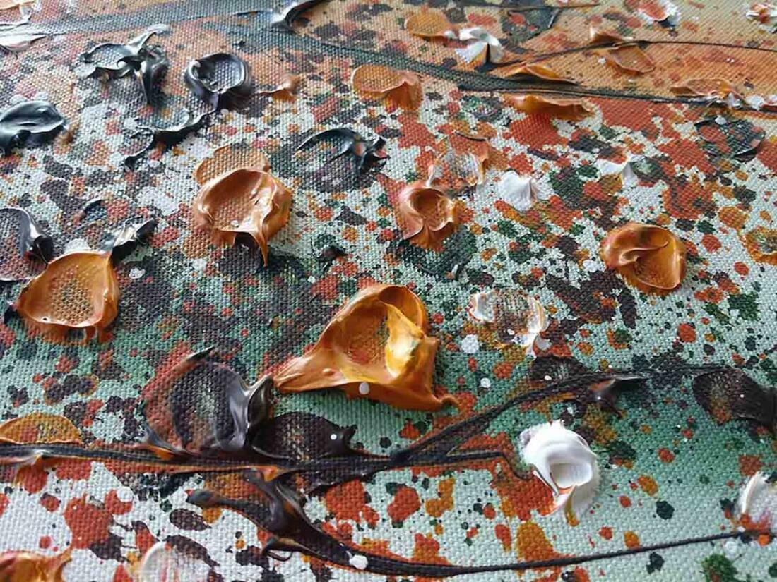 Boom schilderij Bruin Oranje - Uitvergroting 2 van 3
