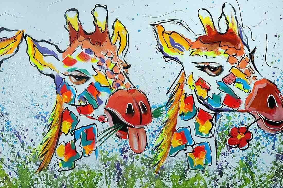 Giraffen schilderij Uitvergroting 1-2
