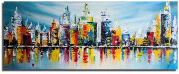 Grote skyline schilderij