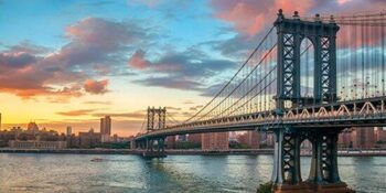 Glas schilderij Manhattan bridge New York City
