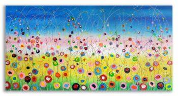 Kleurrijk bloemen schilderij Magic Flowers
