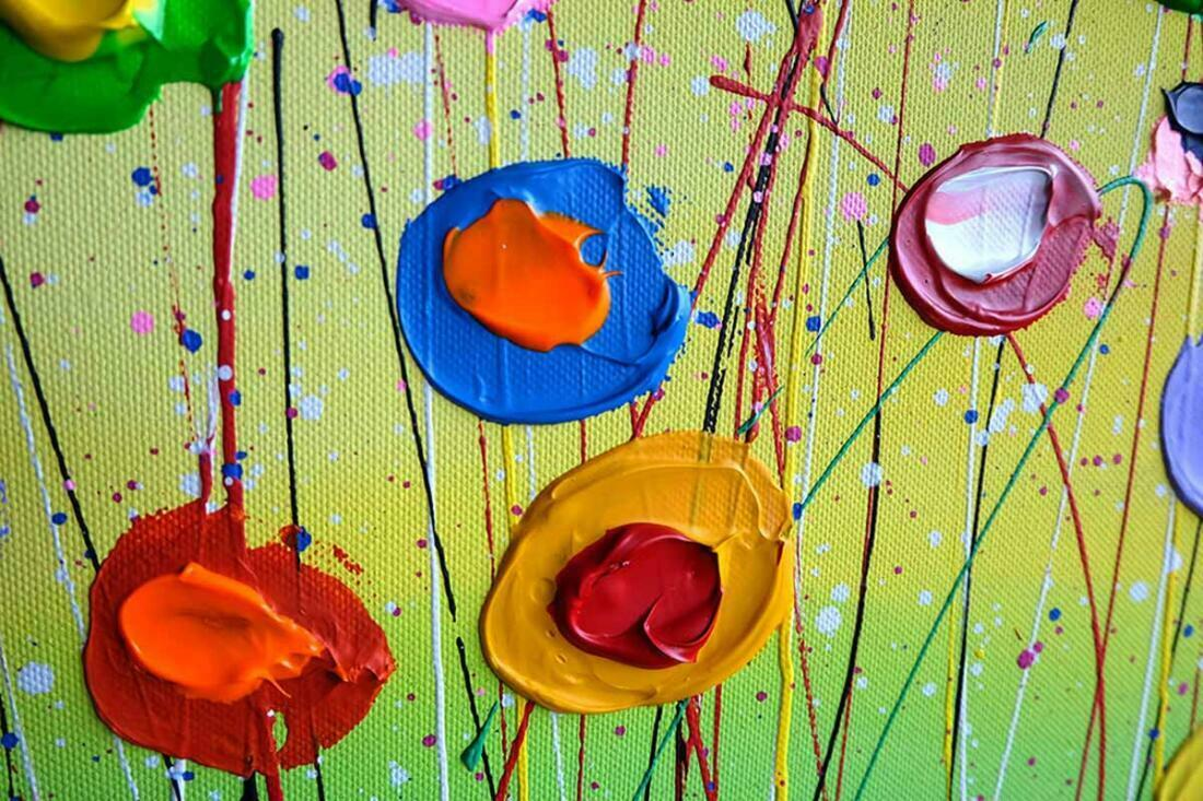 Kleurrijk bloemen schilderij Magic Flowers - Uitvergroting 2/3