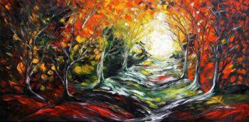 Boswandeling schilderij