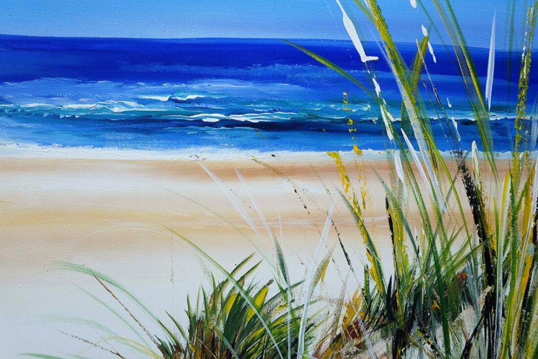 Zomer schilderij Strand en Zee - Uitvergroting 1 van 2