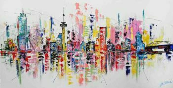 Skyline Rotterdam schilderij abstract