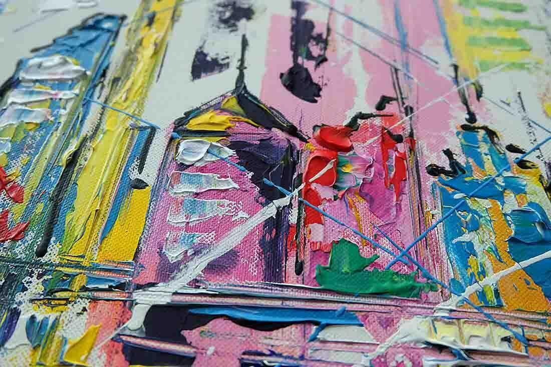 Skyline Rotterdam schilderij abstract - Uitvergroting