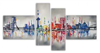 Skyline Rotterdam schilderij 4 luik