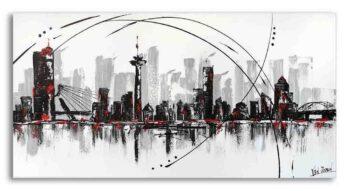 Skyline Rotterdam schilderij zwart wit