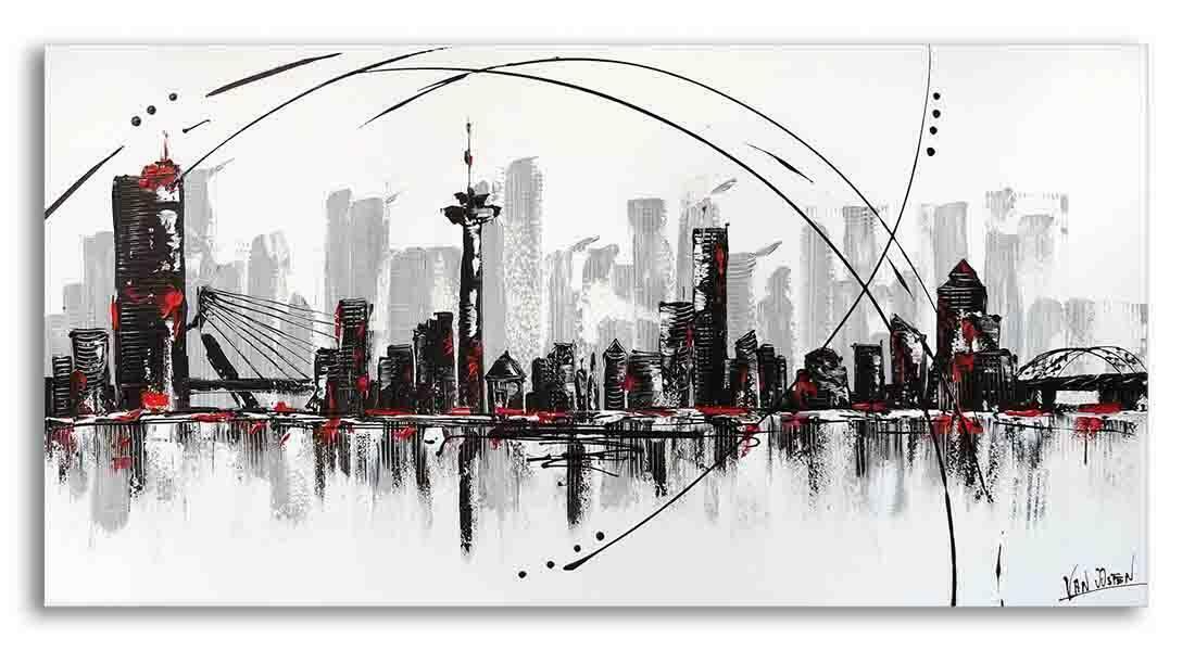 Wonderlijk Skyline Rotterdam zwart-wit schilderij   Abstract geschilderd QG-82