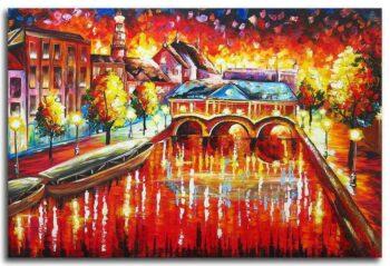 Schilderij Leiden in de avond