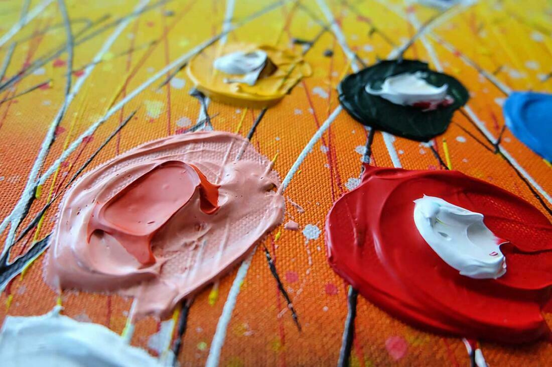 Blije bloemen schilderij - Interieur - Uitvergroting 1 van 2