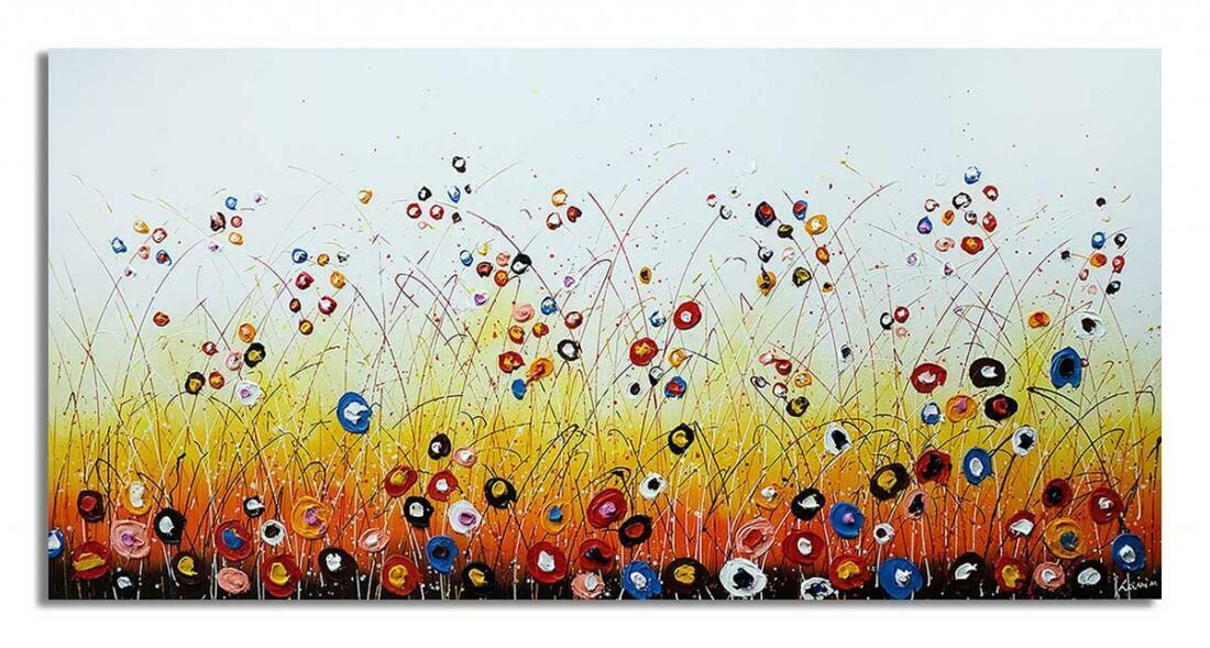 Blije bloemen schilderij