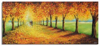 Landschap schilderij wandelen in het bos