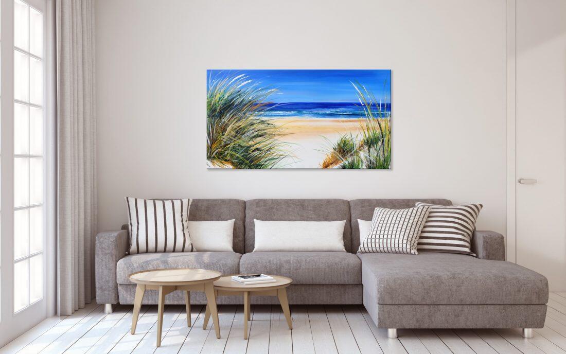 Zomer schilderij Strand en Zee - Interieur voorbeeld