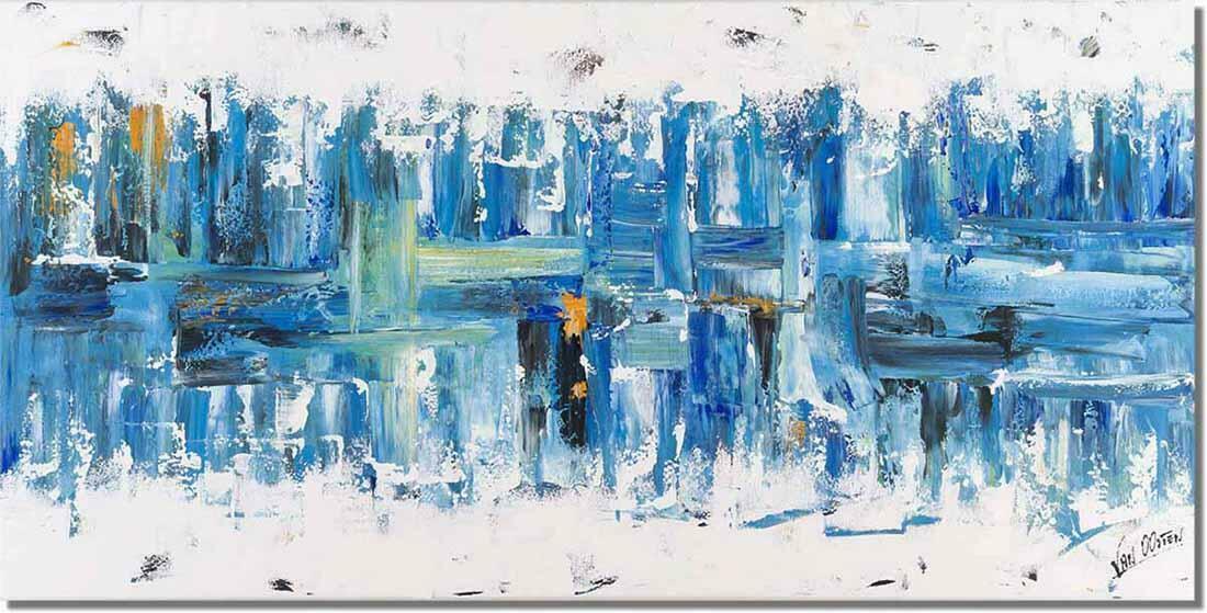 abstract blauw schilderij