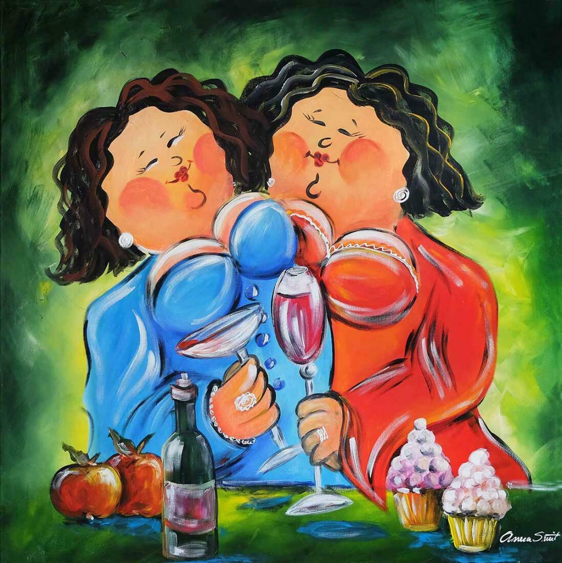 Dikke dame schilderij Wijn