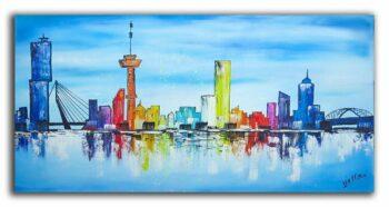 Skyline Rotterdam Blauw
