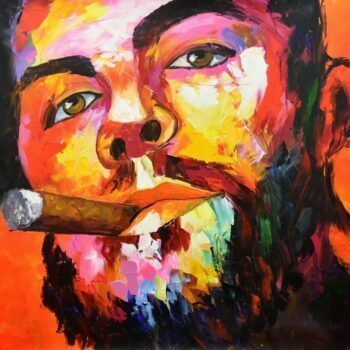 Gezichten schilderij man met sigaar