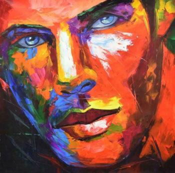 Kleurrijk gezicht man