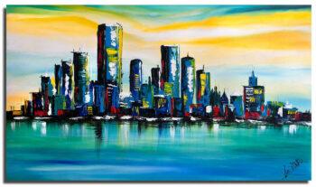 Skyline blauw schilderij