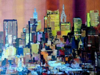 Skyline kleurrijke stad