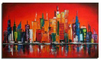 Skyline schilderij rood