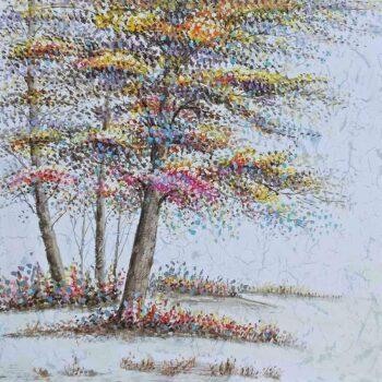 Fantasie bomen schilderij