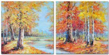 Herfstwandeling 2 luik schilderij