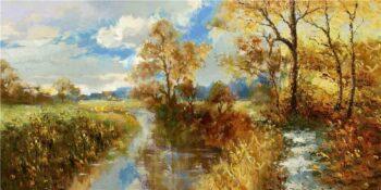 Hollands landschap schilderij