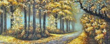Kleurrijk bos schilderij