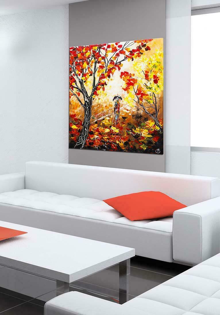 Herfstwandeling schilderij - Interieur voorbeeld