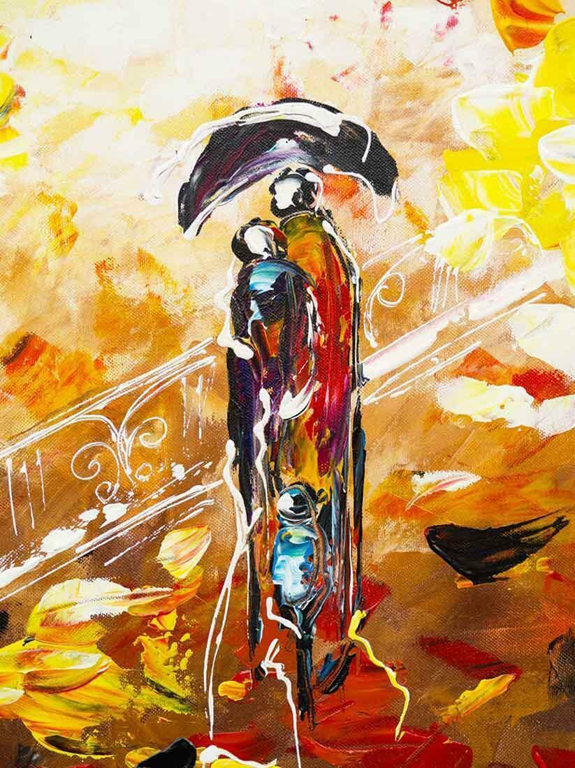 Herfstwandeling schilderij - Uitvergroting