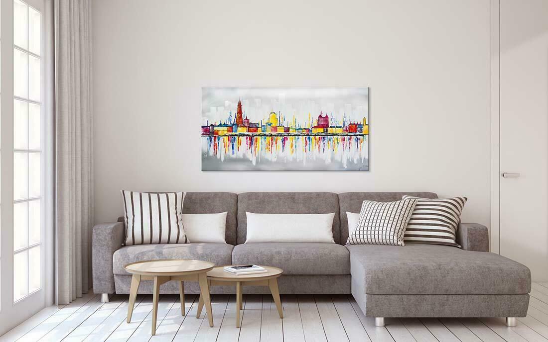 Skyline schilderij Antwerpen - Interieur voorbeeld