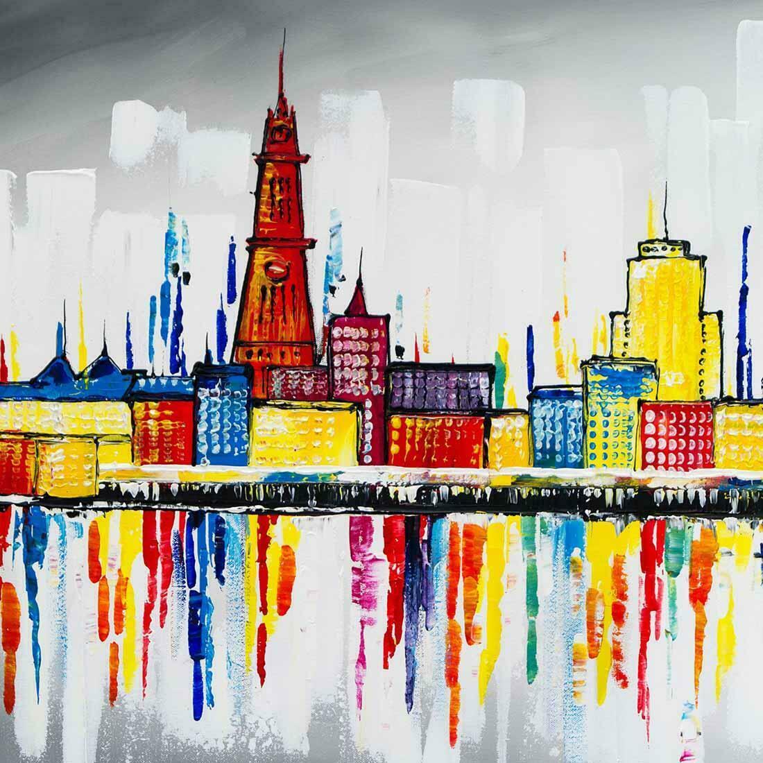 Skyline schilderij Antwerpen - Uitvergroting