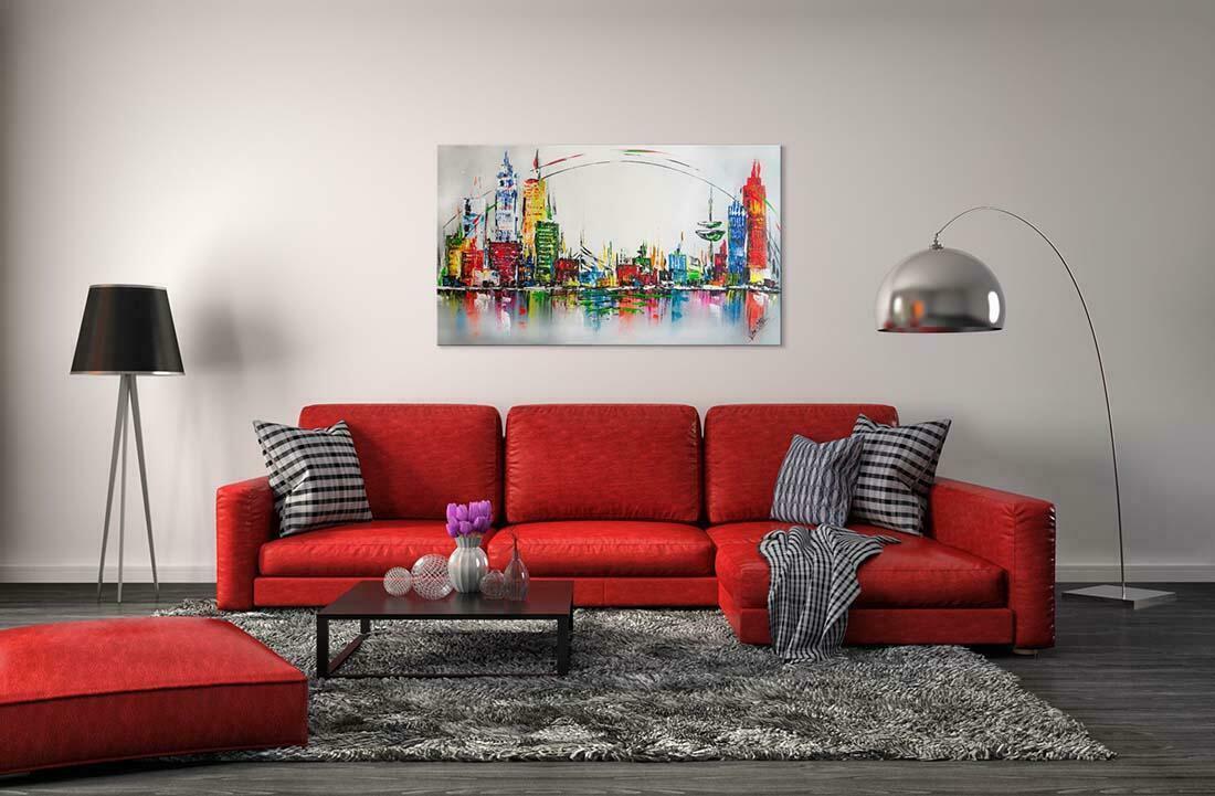 Skyline schilderij City Circle - Interieur voorbeeld