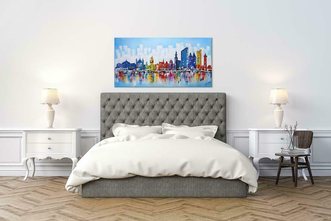 Skyline schilderij Den Haag Blauw - Interieur