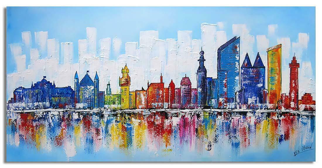 Skyline schilderij Den Haag Blauw