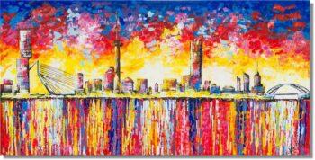 Skyline schilderij kleurrijk Rotterdam