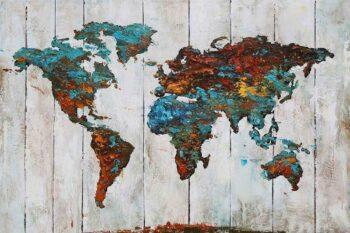 Wereldkaart schilderij