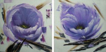 Wilde bloemen tweedelig schilderij