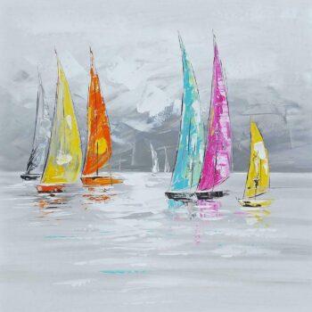 Kleurrijke Zeilboten schilderij