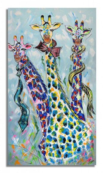 Kleurrijk Giraffen schilderij