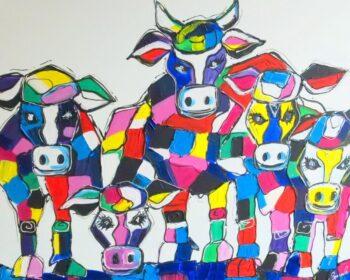 Kleurrijke Koeien schilderij