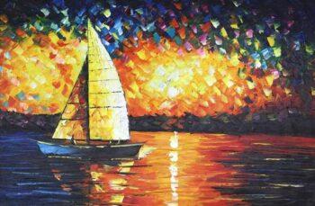Kleurrijke zeilboot