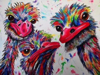 Struisvogel-schilderij